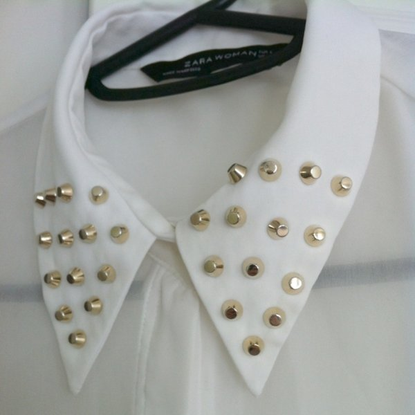 Zara White Blouse With Studded Collar 65