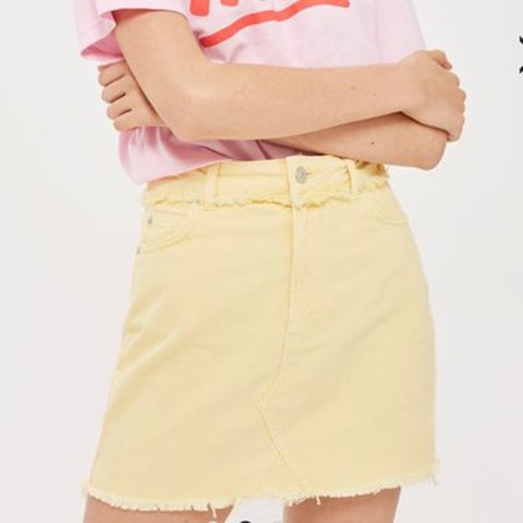 21c6993a8f The pengest pale yellow denim mini skirt from topshop size - Depop