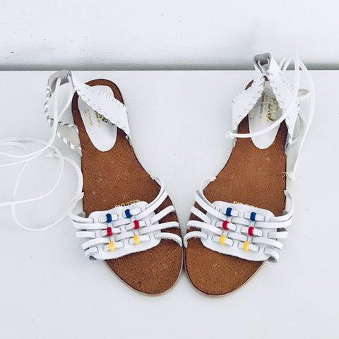 1315f2d70 70s Braided Leather Sandals Lace Up Sandals Size 8.5 38 39 a - Depop