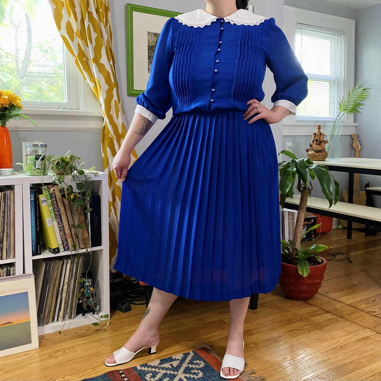 Product Image 1 - Vintage Blue, Prairie-Collared Dress💙  Tagged Size