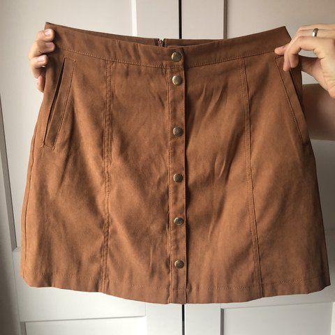 ae8f25c89 Size 10 F&F Tan Skirt • Suede Effect • Minor mark on front • - Depop