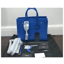 ysl bag france - classic small sac de jour bag in royal blue crocodile embossed leather