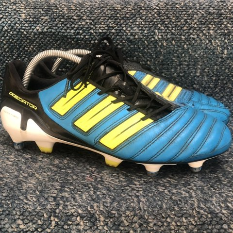 96b2e59c47bb Adidas Predators. Football Boots (Blue/Black/Yellow) Size (1 - Depop