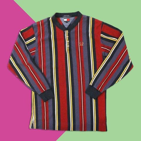 9b78d5e8 @secondhandshawty. yesterday. Norcross, United States. Tommy Hilfiger  Striped Long-Sleeved Collarless Polo Shirt