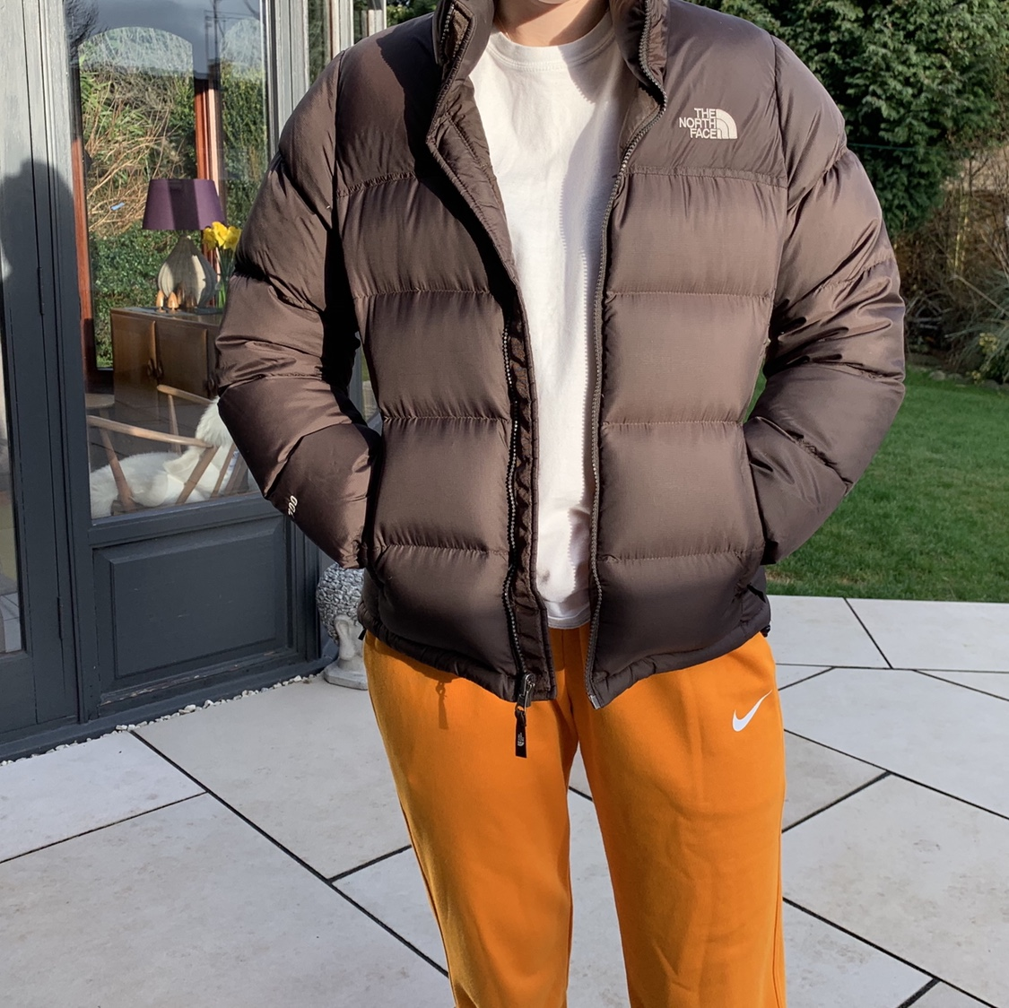 north face brown puffer jacket