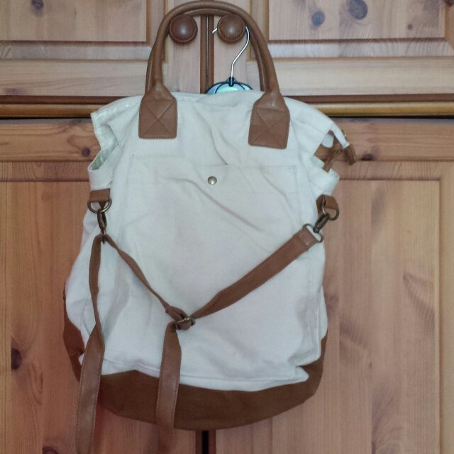 large cream & tan canvas bag from #peacocks never been used uk & paypal only please  ��������������������������������