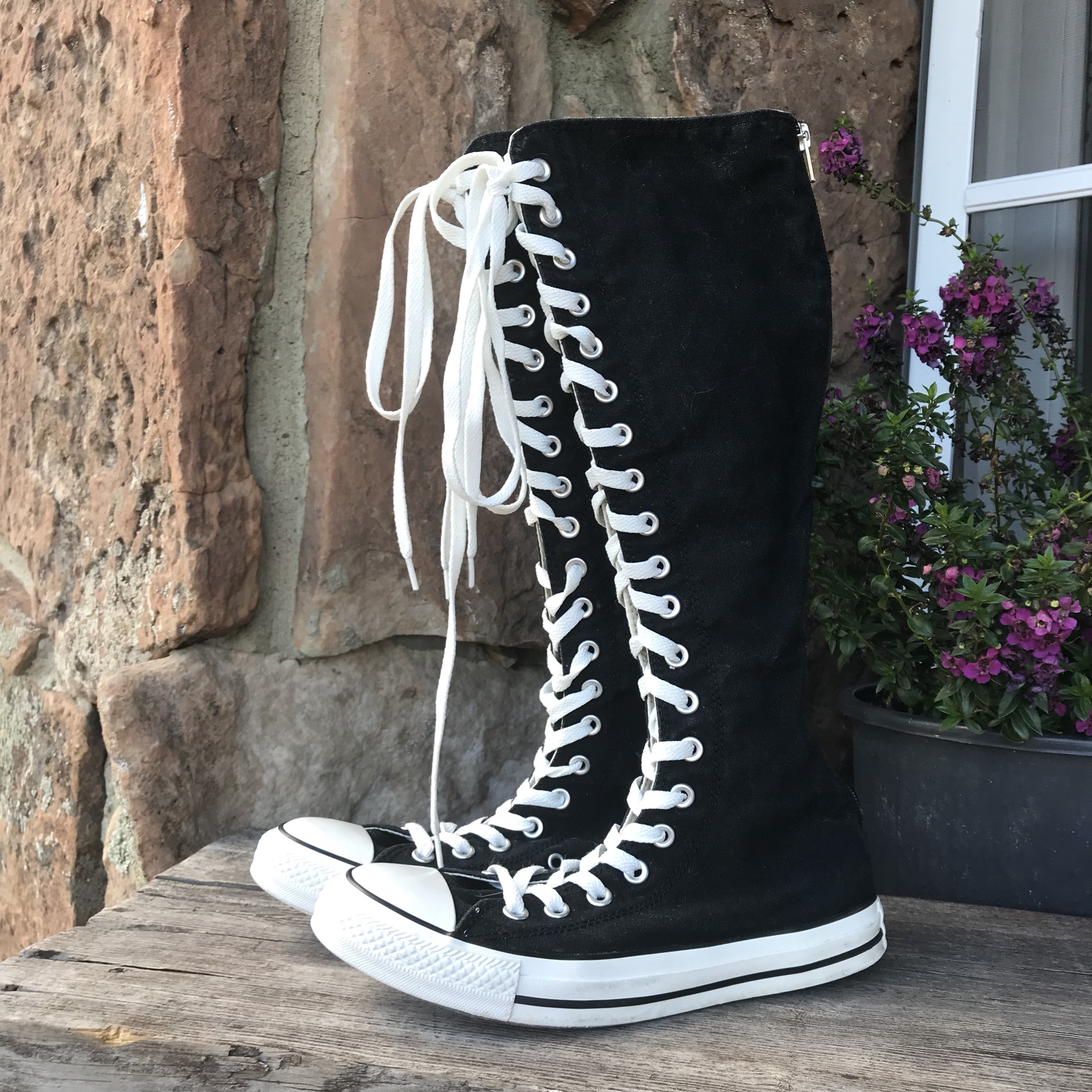 Converse knee high black and white lace up high... - Depop