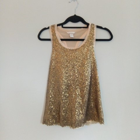 97e821ef H&M gold sequin racer back style top, excellent condition, 8 - Depop