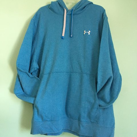 3fabfdd03 blue under armour hoodie with blue and white strings and a a - Depop