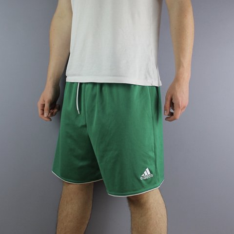 9aa442673 @cloutcloset. in 6 hours. Littlehampton, United Kingdom. Vintage Adidas  Shorts in Green with Embroidered Logo and Drawstrings. Size XL