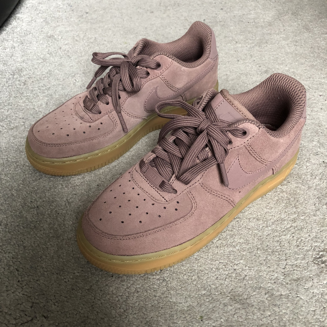 NIKE AIR FORCE 1 SUEDE IN SMOKEY MAUVE WITH GUM... - Depop