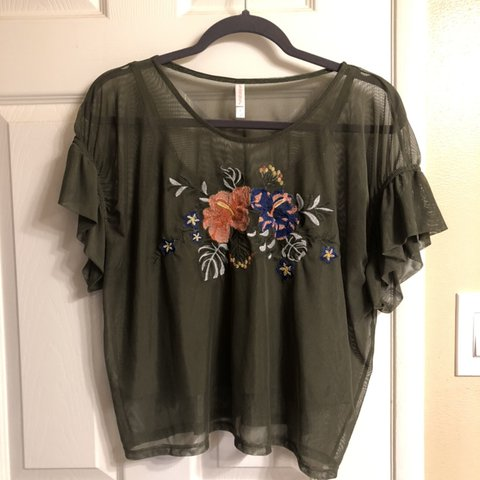 4b086516a80 Olive green mesh shirt with tank top attached underneath a - Depop