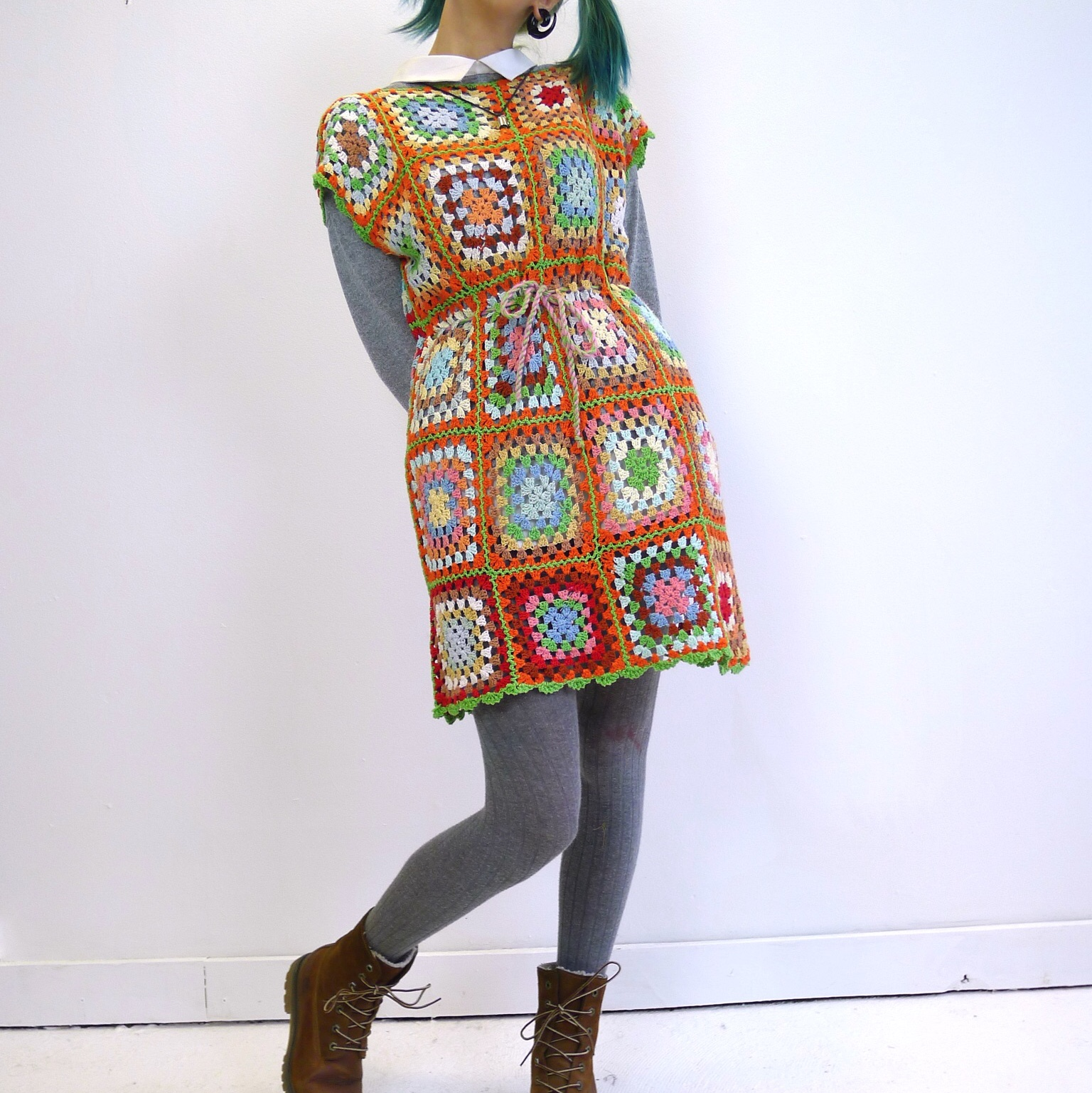 Product Image 1 - Hand crocheted granny square dress.