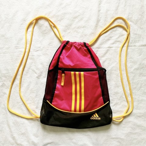 a2a1a8c9e53 @whiterabbitvintage. 1 hour ago. United States. Adidas Hot Pink, Black, &  Neon Orange Drawstring Backpack ...