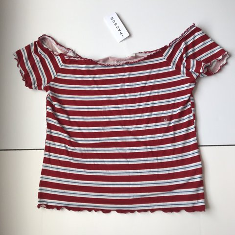 ef24205eec0478 cute red white and blue striped off the shoulder top from It - Depop