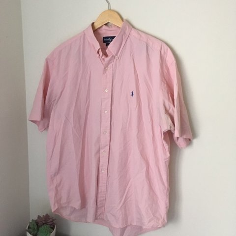 b6c5fac8 @aestheticandfriends. last month. Rockville, United States. Vintage pink  polo Ralph Lauren short sleeve button up Oxford Shirt