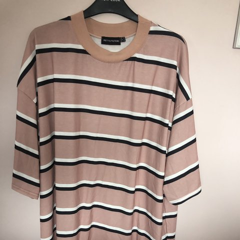 8d8112864f72 @abigailstrong. 13 days ago. Hartlepool, United Kingdom. Pretty little  thing camel striped oversized boyfriend t-shirt dress.