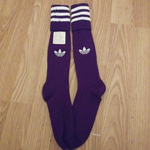 9aaa57597 @gvrbvge. 27 days ago. Adair, Mayes County, United States. Vintage purple  adidas nylon soccer/crew socks