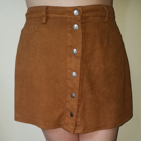 9f31edcc6c Brown suede -ish material button up skirt from rue21 if you - Depop