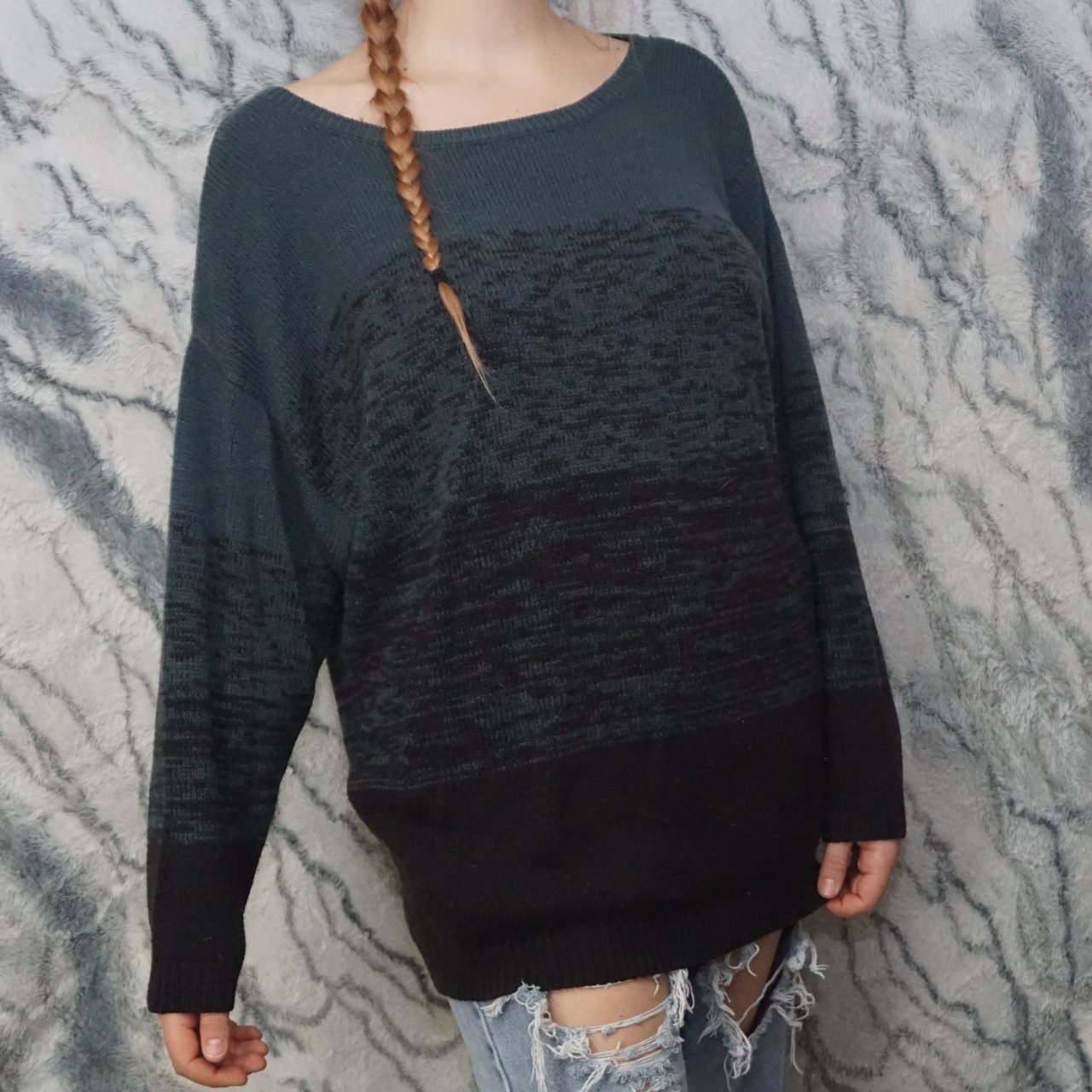 Product Image 1 - Divided Teal Black Knit Sweater Size