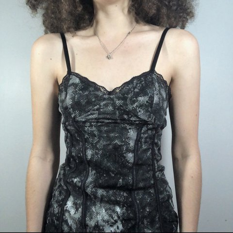 8ca1487481f2 @ratbrat. 21 days ago. Fredericksburg, United States. Black and gray lacey, animal  print bustier style tank top ...