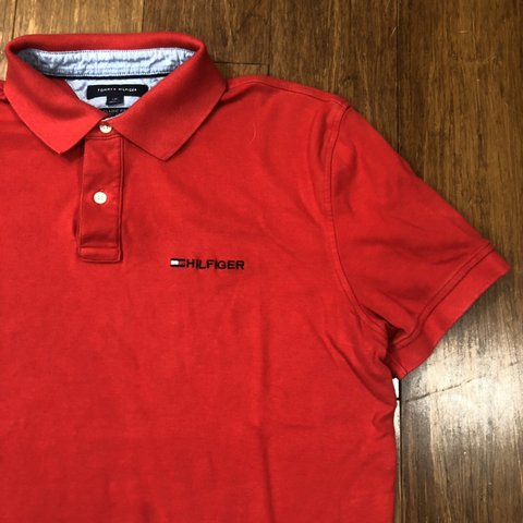 5da9147c @kingswood. in 4 hours. Philadelphia, United States. FLASH SALE Men's  Vintage Tommy Hilfiger Red Spellout Embroidered Logo Flag Short Sleeve Polo  Shirt