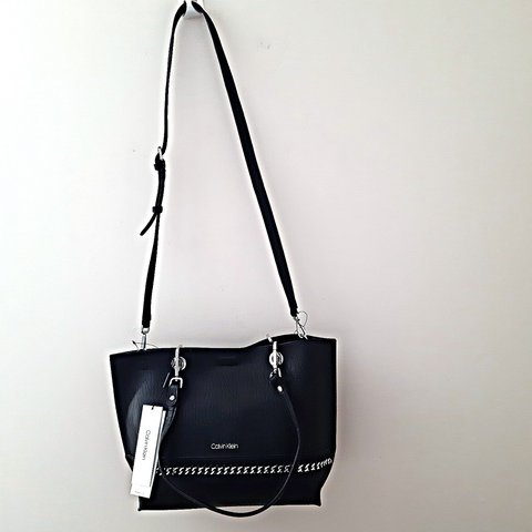 9dc1c93cc7 @lavishdot. 13 days ago. Purfleet, GB. Brand new with tags Calvin Klein  2in1 black faux leather large reversible chainlink Sonoma tote bag.