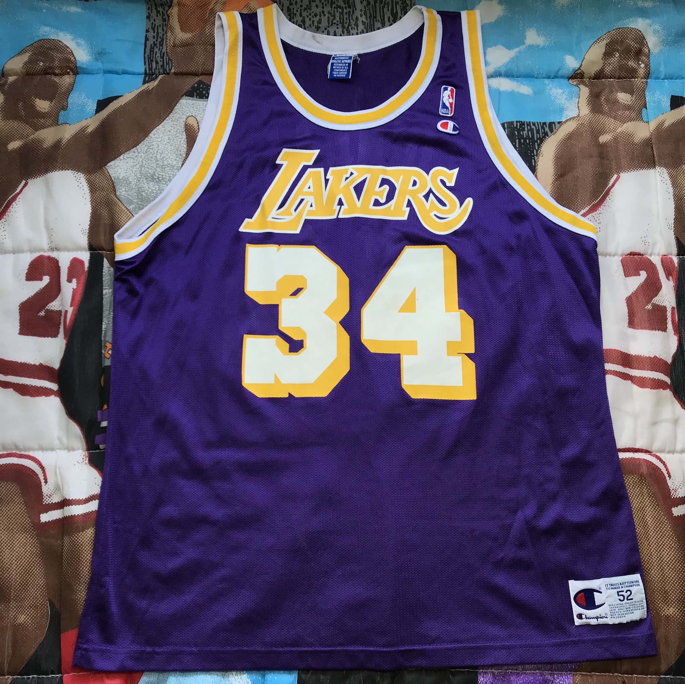 Champion nba los angeles lakers #34 shag jersey and... - Depop