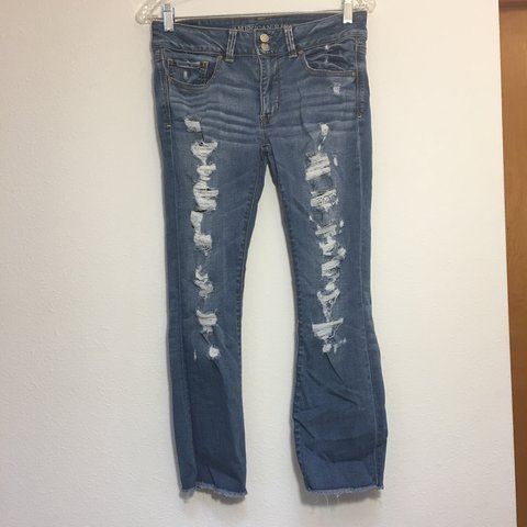 b0fb4d79dff @ntestroet. in 2 hours. Tacoma, United States. American Eagle Artist Crop  Medium Wash Distressed Denim Jeans. Great condition.