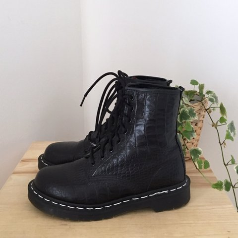 f86a140d370a5 @doctillyoudrop. 18 days ago. United Kingdom. Dr Martens Made in England  1460 boots. Black leather crocodile ...