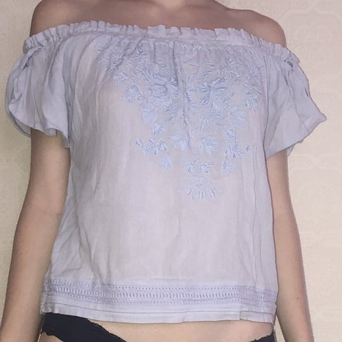 c351ec6396e921 @bbkay777. 6 days ago. Collingswood, United States. embroidered baby blue  Bardot top really light & comfortable