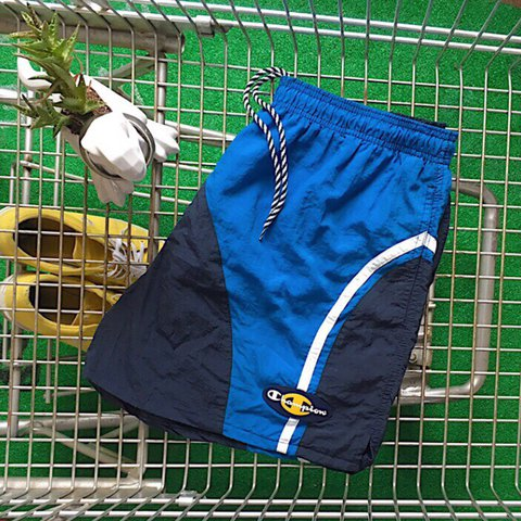 5633f6eec1 @souldoutvintage. yesterday. Providence, United States. Vintage Champion  Color Block Striped Blue Swim Trunks Shorts ...