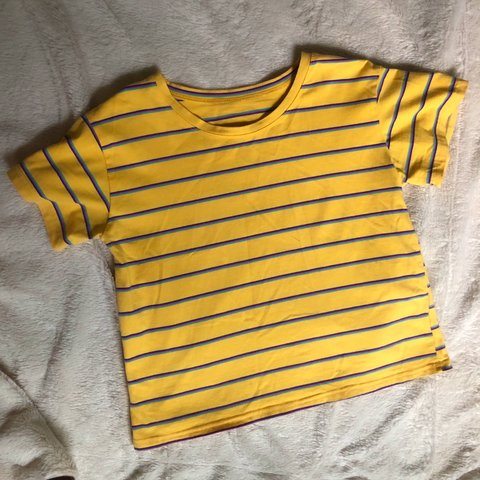 1943b0e6fb @schmidtshop. 11 days ago. Clover, United States. Yellow, blue, pink, and  purple striped tee shirt .