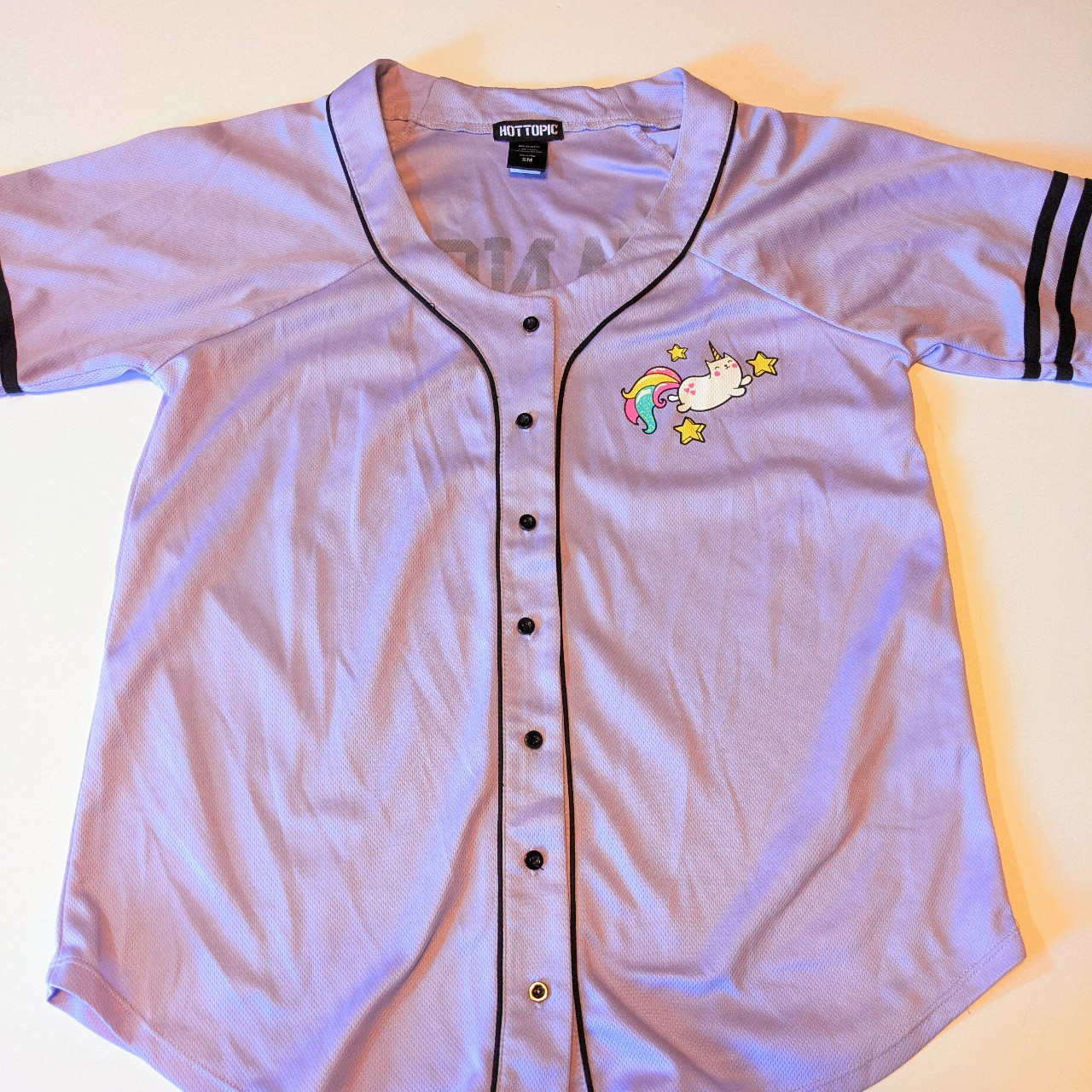 Product Image 1 - Purple Hot Topic bowling shirt.  Graphics