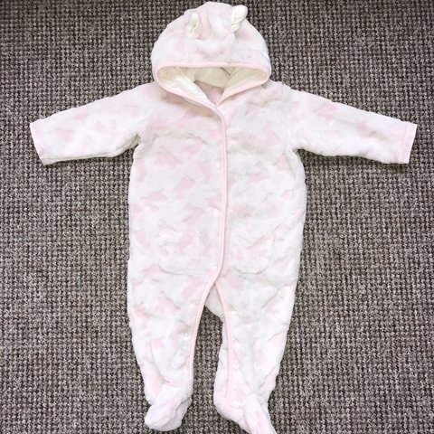 c7d542b2f7052 Pink fluffy bunny pram suit. Size 3-6 months. Worn but great - Depop