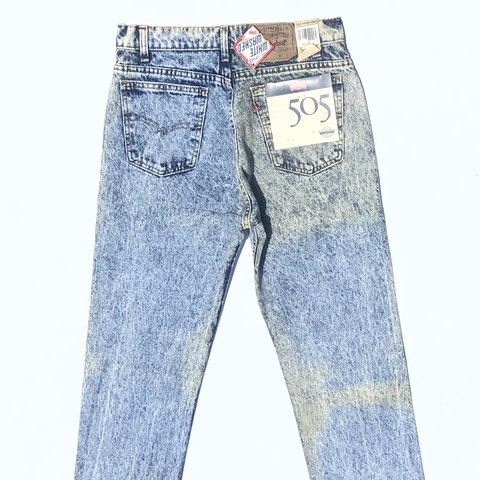 332fe19a @banksstreetsupply. in 21 hours. Asheboro, United States. Vintage 80's Levi's  505 Acid White Washed Denim Jeans ...