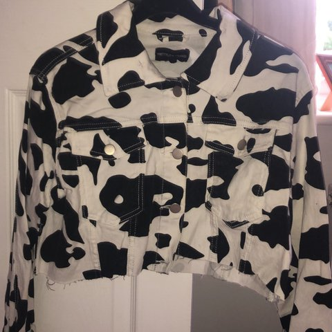 a6d44d822bc6 @lucysimnett. 19 days ago. Burton upon Trent, United Kingdom. Cow print  denim jacket - cropped ...