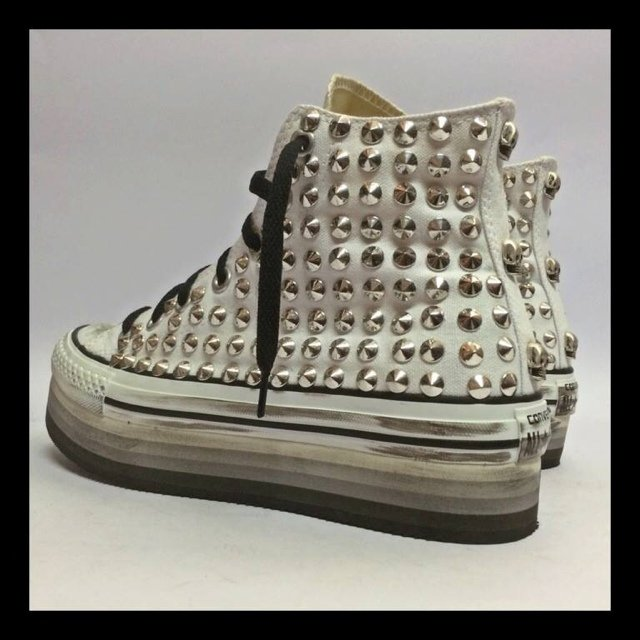 converse all star suola alta nere