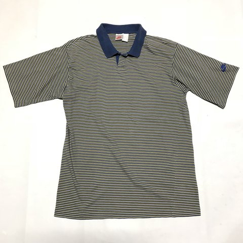 c64ce484 Vintage 90s Nike Grey Tag Andre Agassi Striped Polo Shirt in - Depop