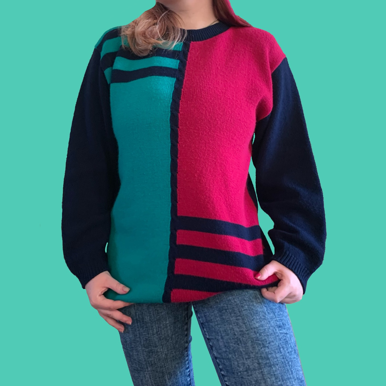 Product Image 1 - SUPER 80s COLORBLOCK SWEATER  this sweater