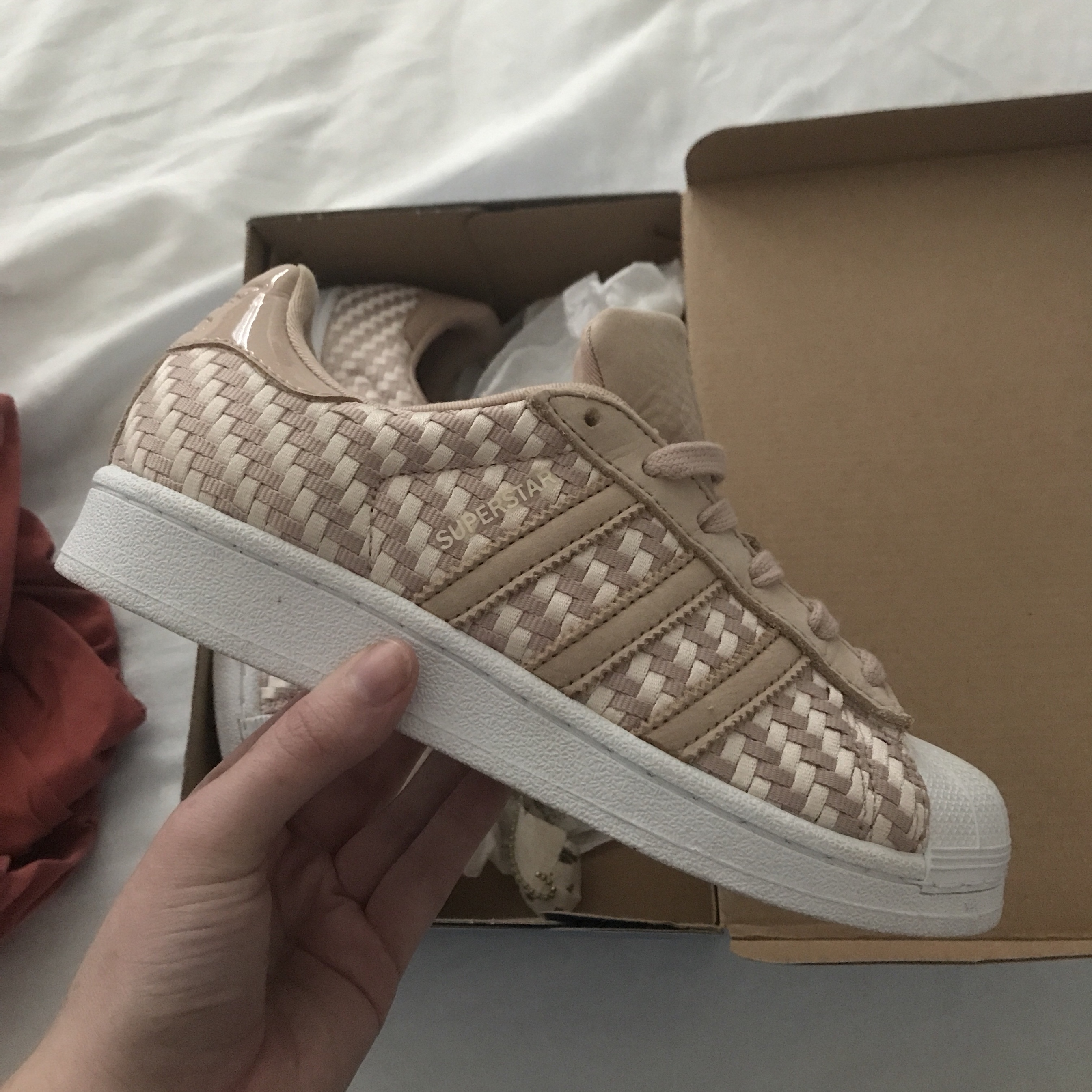 Adidas Superstar woven Nude Worn once for a photo... - Depop