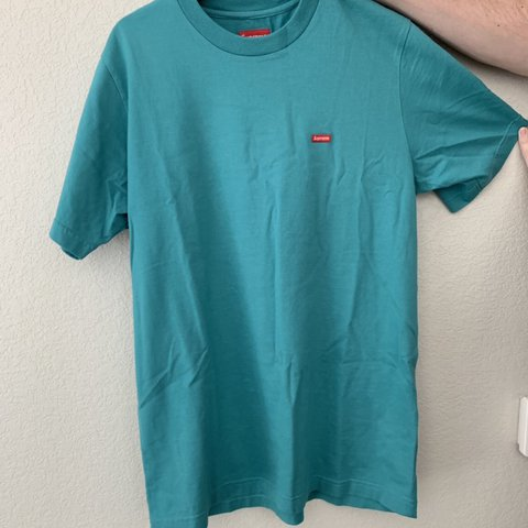 ce4aaae36bd0 @edhopfe. 7 days ago. Lone Tree, United States. Teal Supreme shirt with Supreme  patch on front. 10/10 condition. Size ...