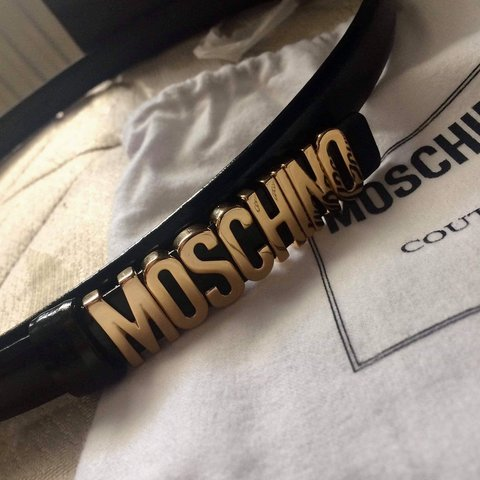 c14bfd94b8 Selling for a friend* Genuine black and gold Moschino belt - Depop