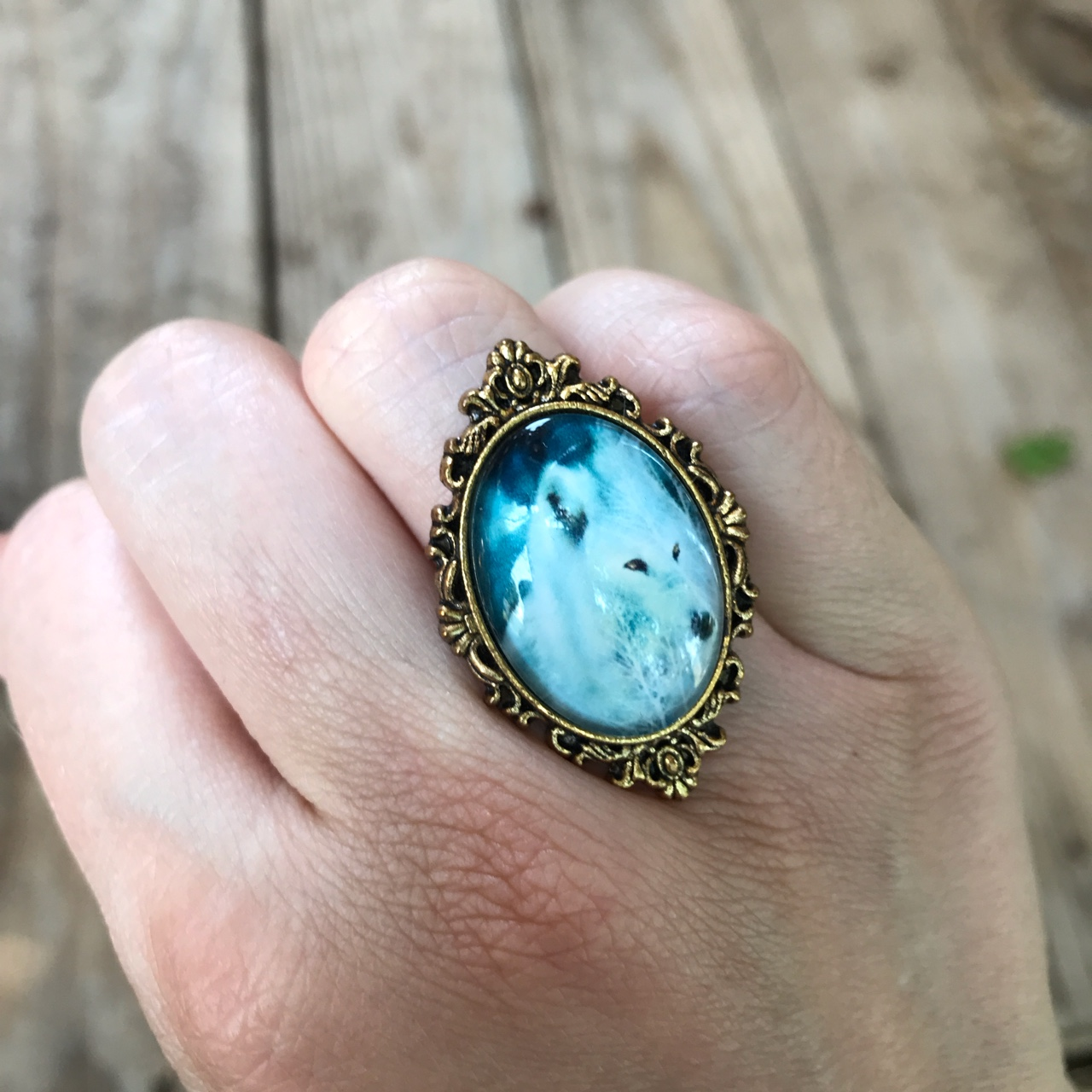 Product Image 1 - White wolf ring. Glass cameo