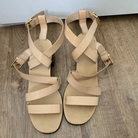 3f6a663a08 Forever 21 heeled sandals Beige cute strappy sandals Size a - Depop