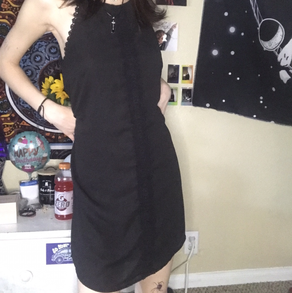 Product Image 1 - thrifted black flowy dress with