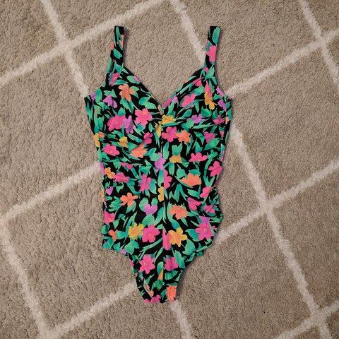 c1192eb6b67 @usedto1990. 17 days ago. United States, US. Vintage 1980s-1990s neon flowers  Gabar Made in U.S.A. one piece bathing suit.