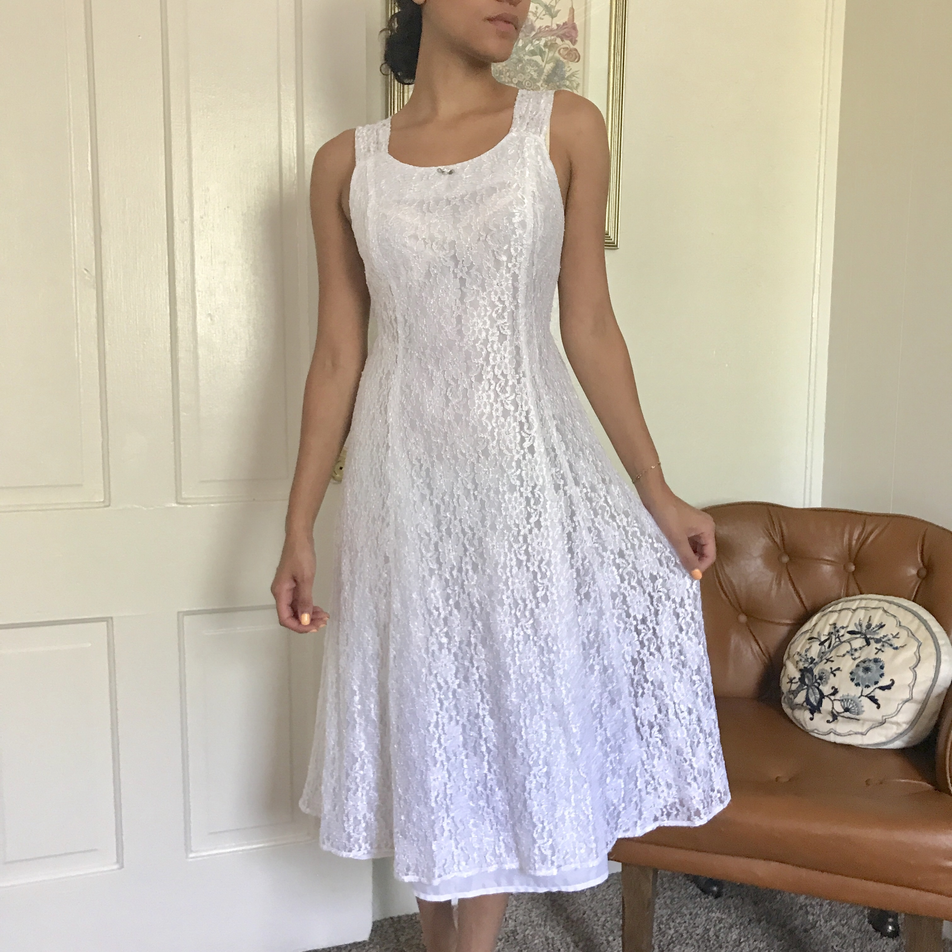 Product Image 1 - 90's white lace dress, double