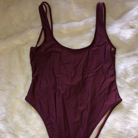 940a37a47e80b @wond3r_m0m. in 7 hours. Lancaster, United States. USED burgundy Vintage  style 90s high cut one piece swimsuit.