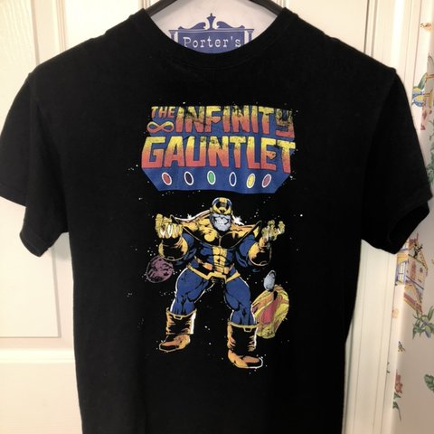dbecfc659c58 Infinity war end game Marvel Thanos t-shirt. The shirt has a - Depop